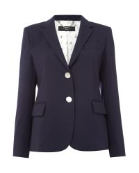 Max Mara | Blue Paese Front Button Two Pocket Wool Jacket | Lyst