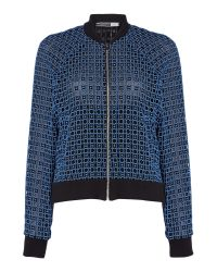 Sportmax Code   Black Crochet Bomber Jacket With Ribbed Cuff   Lyst