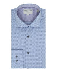 Ted Baker | Blue Slim Fit Dot Print Shirt for Men | Lyst