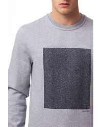 Calvin Klein - Blue Kavor Heather Terry Print Sweatshirt for Men - Lyst