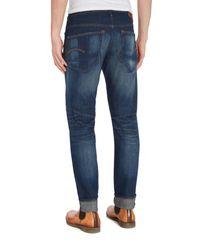 G-Star RAW Blue 3301 Slim Fit Medium Aged Gosk Stretch Jeans for men