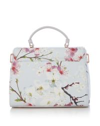 Ted Baker Gray Harmon Large Floral Crosshatch Tote Bag