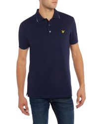 Lyle & Scott - Blue Short Sleeve Jacquard Collar Polo Shirt for Men - Lyst