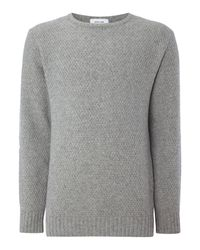 Soulland | Gray Ricketts Textured Knitted Crew Neck Jumper for Men | Lyst
