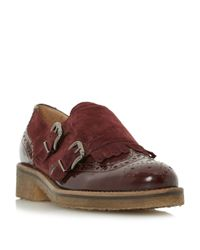 Dune Multicolor Garland Leather Buckled Monk Shoes for men