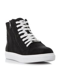Steve Madden Black Earnst Lace Up High Top Trainers