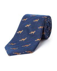 Paul Costelloe Blue Mr Fox Silk Tie for men