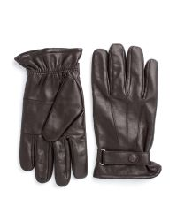 Paul Costelloe Brown Longford Leather Gloves With Tab for men