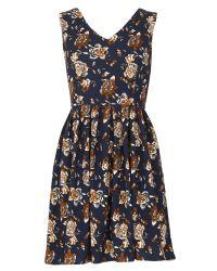 Tenki | Blue V-neck Floral Print Skater Dress | Lyst