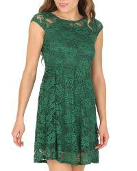 Tenki Green Cap Sleeve Floral Lace Dress