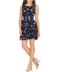 Tenki Blue Sleeveless Bird Print Skater Dress
