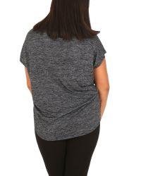 Samya Gray Plus Size Eyelet Slouch T-shirt
