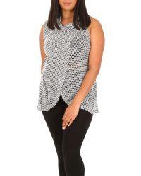 Samya Black Plus Size Wrap Roll Neck Top