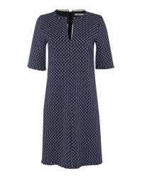 Marella   Blue Sarong 3/4 Sleeve Anchor Print V Neck Shift Dress   Lyst