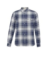 French Connection | Blue Tail Dragger Check Connery Shirt for Men | Lyst