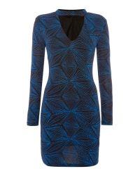 Endless Rose   Blue Longsleeve Glitter Lurex Bodycon Dress   Lyst