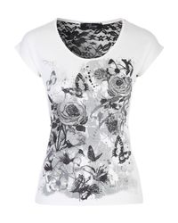 Jane Norman | White Printed Lace T-shirt | Lyst