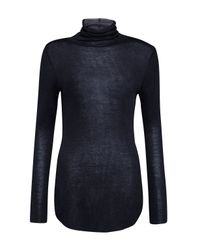 French Connection | Blue Marian Slub Polo Neck Top | Lyst