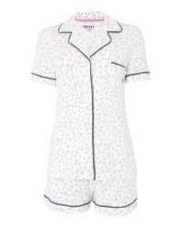 DKNY | White Short Sleeve Top And Short Pyjama Set | Lyst