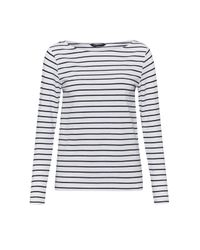 French Connection | White Tim Tim Long Sleeve Striped Top | Lyst