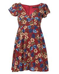 Tenki | Red V-neck Floral Print Skater Dress | Lyst