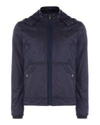 Michael Kors | Blue Nylon Zip Through Hooded Jacket for Men | Lyst