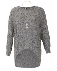 Izabel London | Gray Batwing Knit Top With High Low Hem | Lyst