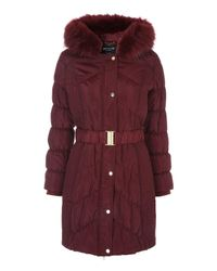 Jane Norman | Red Black Long Line Faux Fur Trim Puffer Coat | Lyst
