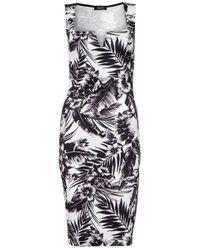 Quiz Multicolor Cream Tropical Print Midi Dress