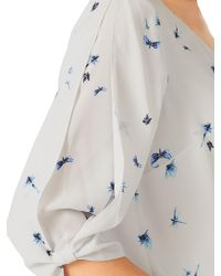Jacques Vert Gray Dragon Fly Blouse