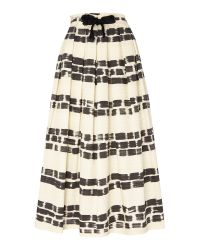 Max Mara | White Giotto Midi Striped Skirt With Belt Tie | Lyst