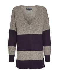 French Connection | Gray Alice Nep Knits Stripe Jumper | Lyst
