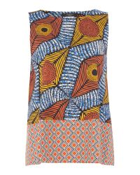 Max Mara | Yellow Ermanna Sleeveless African Print Top | Lyst