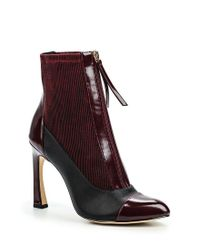 Lost Ink | Purple Avis Zip Front Stiletto Ankle Boots | Lyst