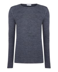 SELECTED | Blue Knitted Crew-neck Jumper for Men | Lyst