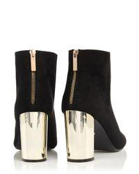 Oasis Black Becki Block Gold Heel Boot