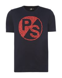PS by Paul Smith | Blue Large Ps Logo Chest Print T-shirt for Men | Lyst