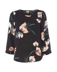 Vero Moda | Black 3/4 Length Sleeve Top | Lyst