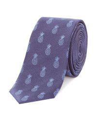 Simon Carter | Blue Pineapple Print Tie for Men | Lyst