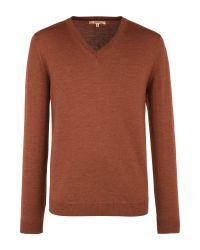 Gibson   Brown V Neck Merino Sweater for Men   Lyst