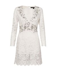 French Connection | White Emmie Lace Embellished Dress | Lyst