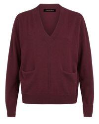 Jaeger | Red Cashmere V-neck Pocket Sweater | Lyst