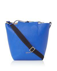 Calvin Klein | Blue Isa Reversible Bucket Hobo Bag | Lyst
