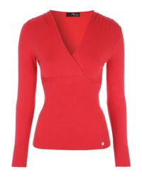 Jane Norman | Red Long Sleeve Wrap Jumper | Lyst