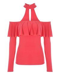Jane Norman | Pink Choker Ruffle Bardot Top | Lyst