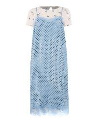 Free People | Strappy Side Split Slip Dress In Blue | Lyst