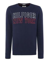 Tommy Hilfiger   Blue Basic Hilfiger Sweatshirt for Men   Lyst