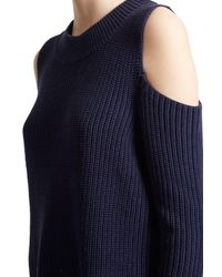 French Connection - Blue Cold Shoulder Knitted Cotton Jumper - Lyst
