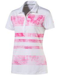 PUMA   Pink Bloom Stripe Polo for Men   Lyst