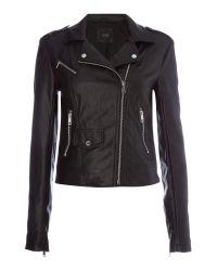 Guess | Black Faye Faux Leather Biker Jacket | Lyst